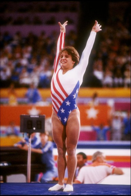 1984:  Mary Lou Retton of the United States in action during the Summer Olympics in Los Angeles, California. Mandatory Credit: Steve Powell  /Allsport