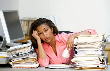 African American Woman - unhappy office worker - unhappy employee - unhappy women   Original Filename: sb10069708d-001.jpg