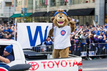 CHICAGO, IL - NOVEMBER 04: Chicago Cubs mascot Clark celebrates during the Chicago Cubs 2016 World Series victory parade on November 4, 2016 in Chicago, Illinois. The Cubs won their first World Series championship in 108 years after defeating the Cleveland Indians 8-7 in Game 7. (Photo by Tasos Katopodis/Getty Images) ** OUTS - ELSENT, FPG, CM - OUTS * NM, PH, VA if sourced by CT, LA or MoD **