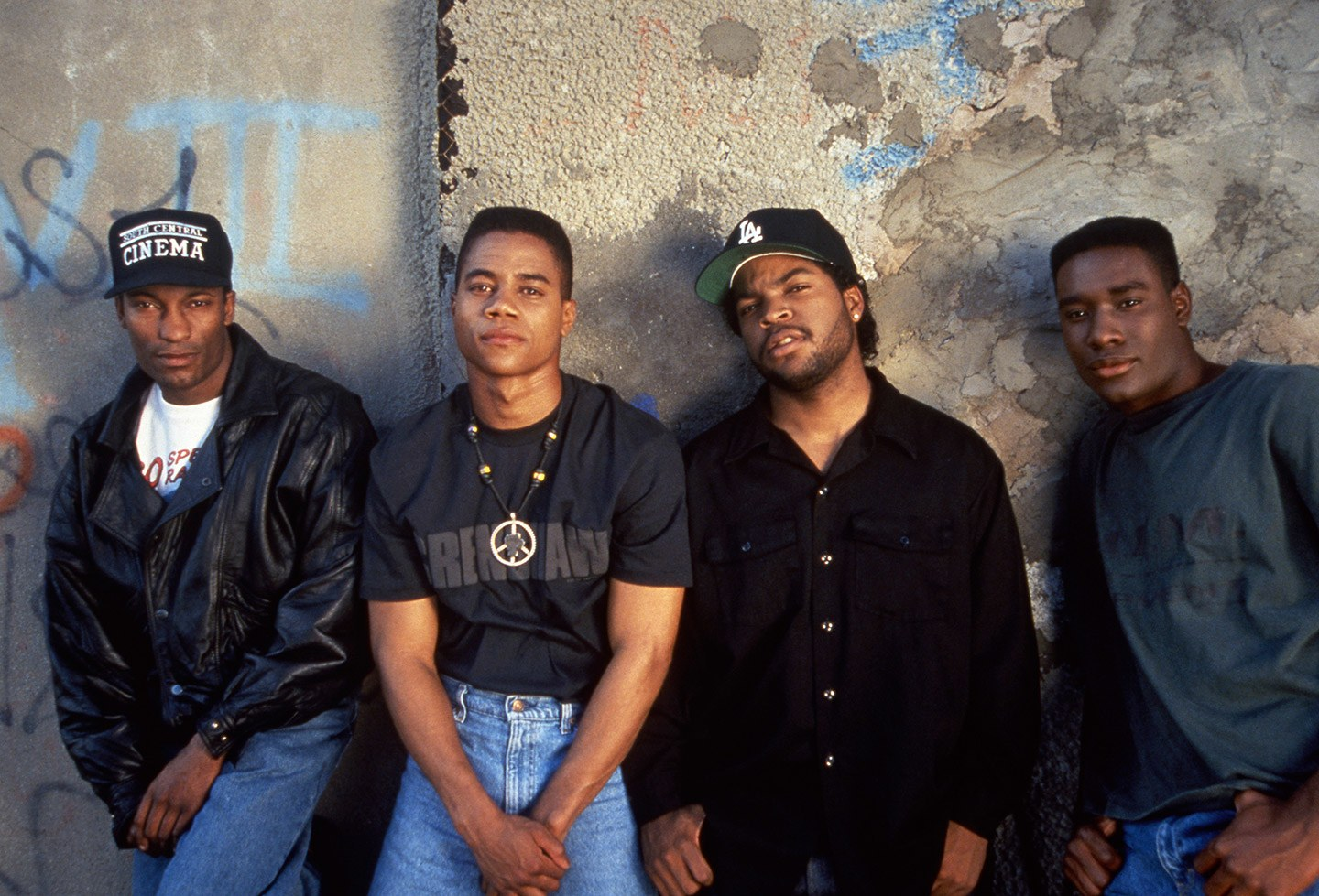 """a76bdff8 John Singleton (left) with his three """"Boyz N The Hood"""" stars (from left to  right): Cuba Gooding, Jr., Ice Cube, and Morris Chestnut."""